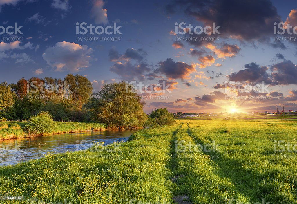 Colorful spring landscape on the siver stock photo