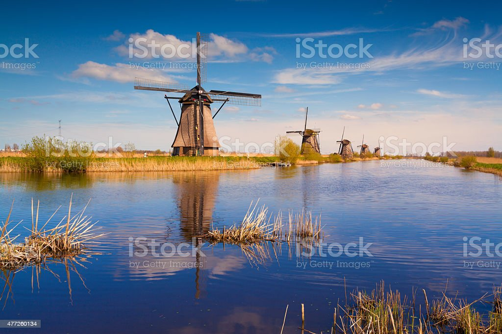 Colorful spring morning on the canal in Netherlands stock photo