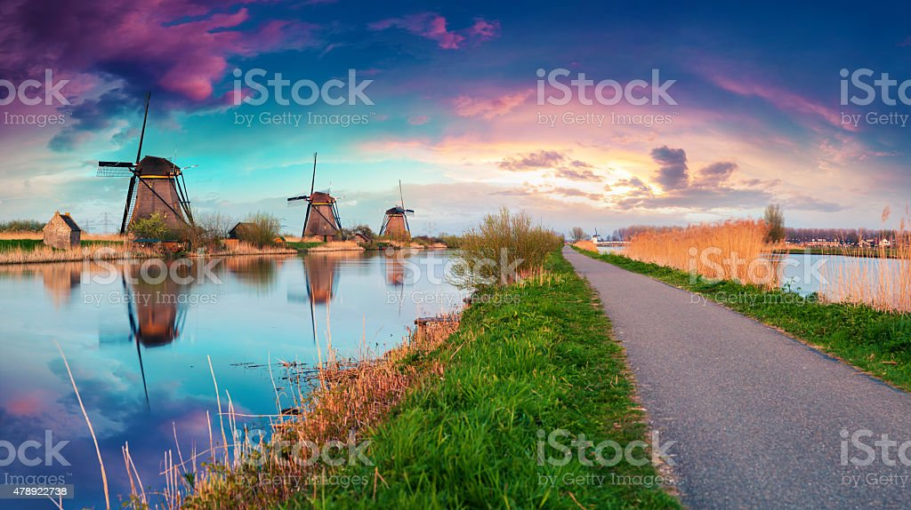 Colorful spring sunset in Netherlands. stock photo