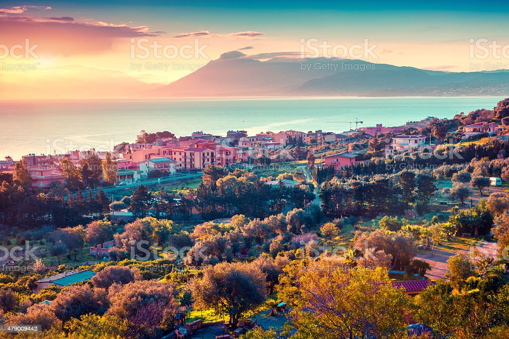 Colorful spring sunset in the Solanto village stock photo