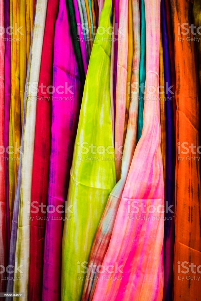 colorful Sri Lankan scarfs, clothes and textiles stock photo