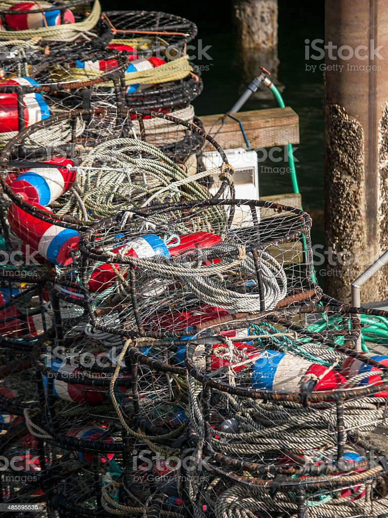 Colorful Stack of Crab Traps stock photo