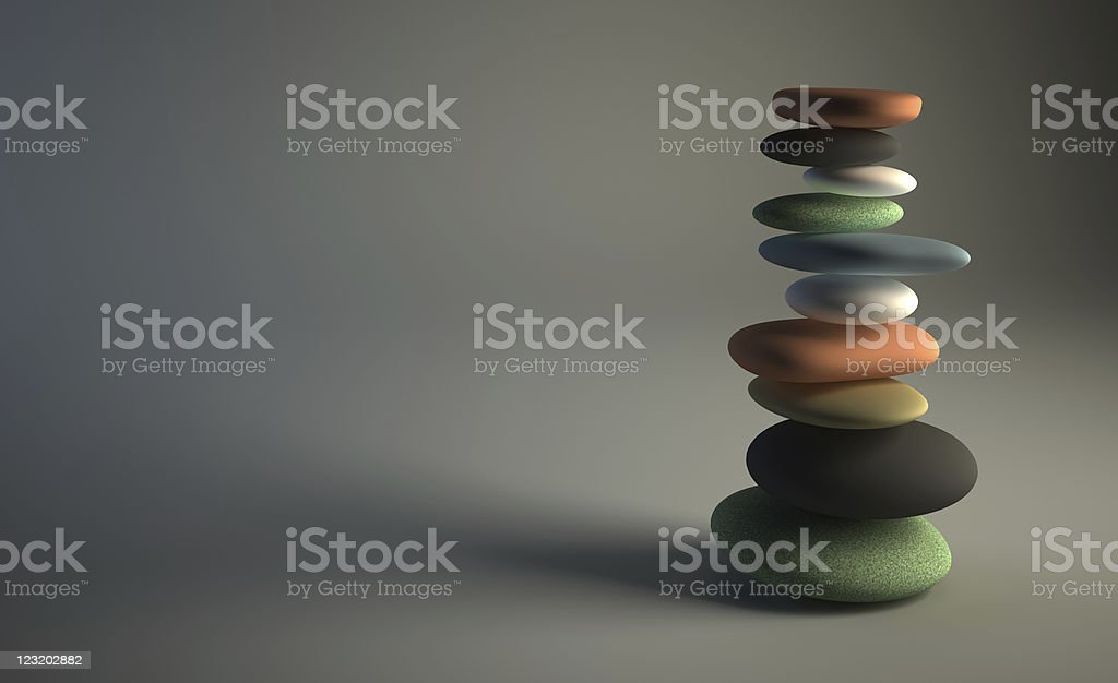 Colorful stack of pebbles stock photo