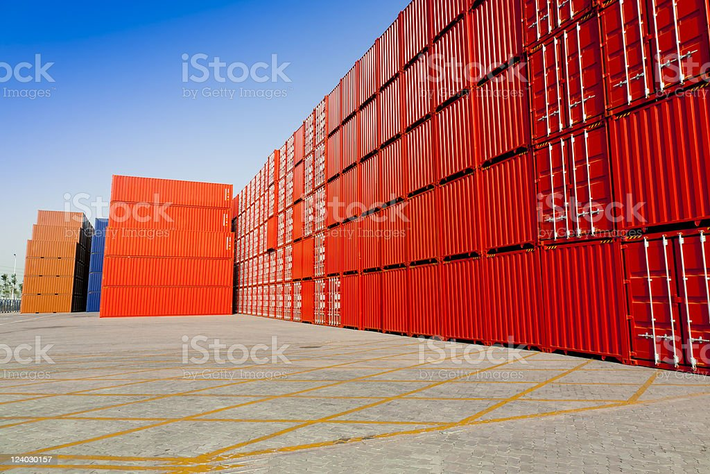 Colorful stacked containers at port royalty-free stock photo