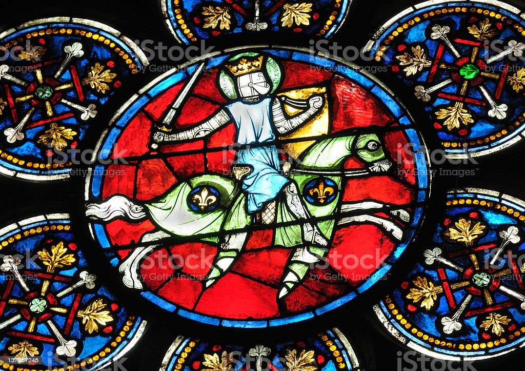 Colorful stained glass art of Louis IX of France stock photo