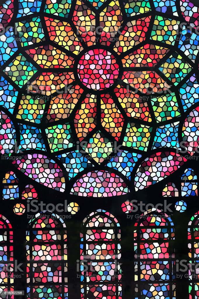 Colorful stained glass texture stock photo