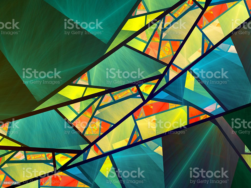 Colorful stained-glass fractal stock photo