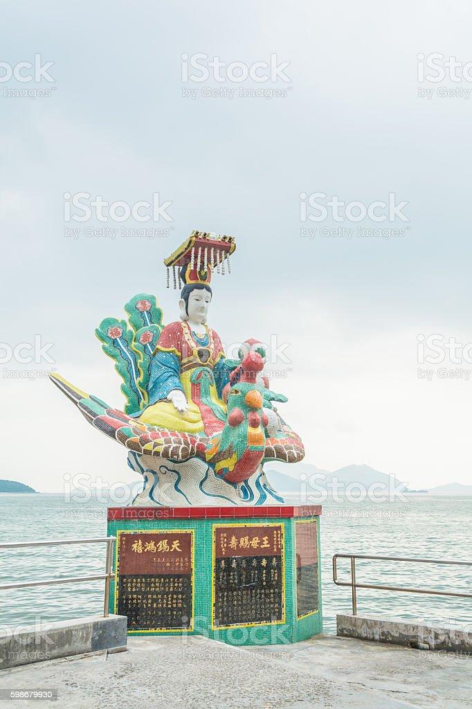 Colorful statue at Kwun Yam temple, Hong Kong. stock photo