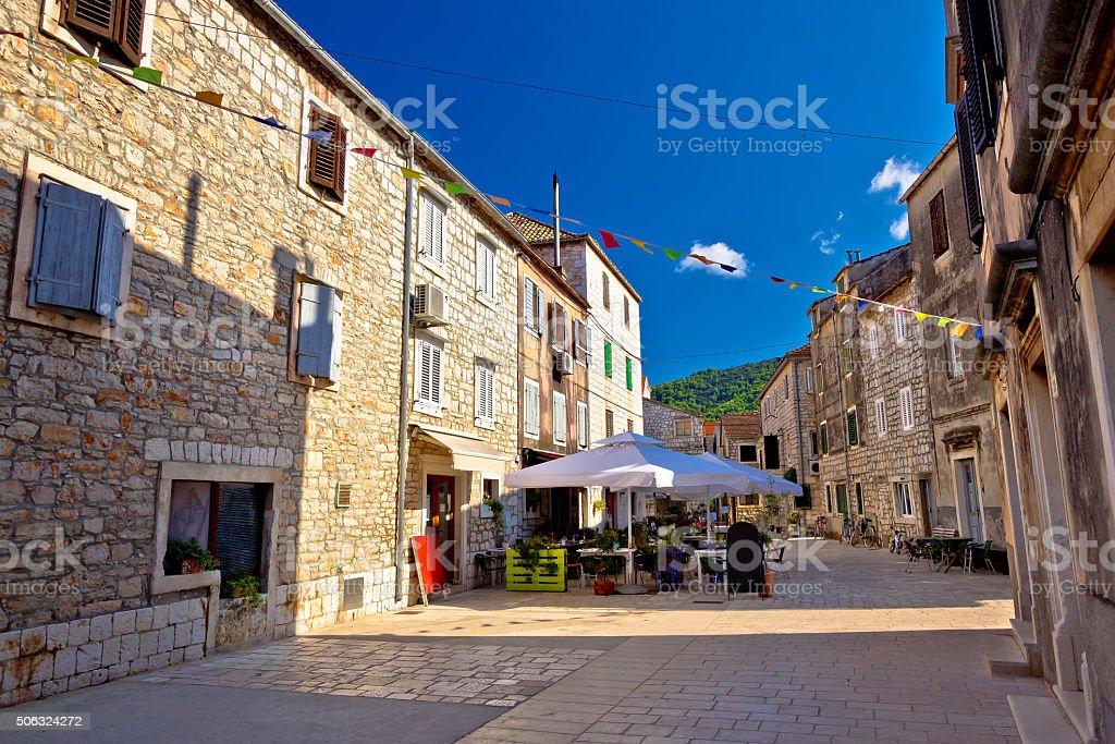 Colorful stone streets of Stari Grad stock photo
