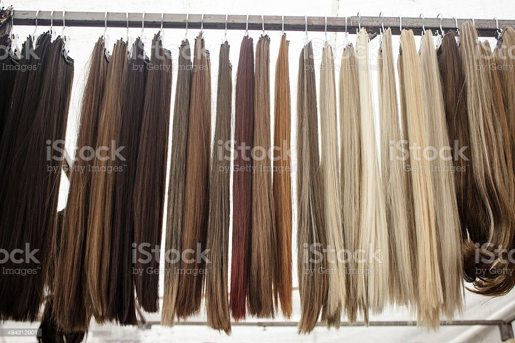 Colorful straight hair pieces stock photo