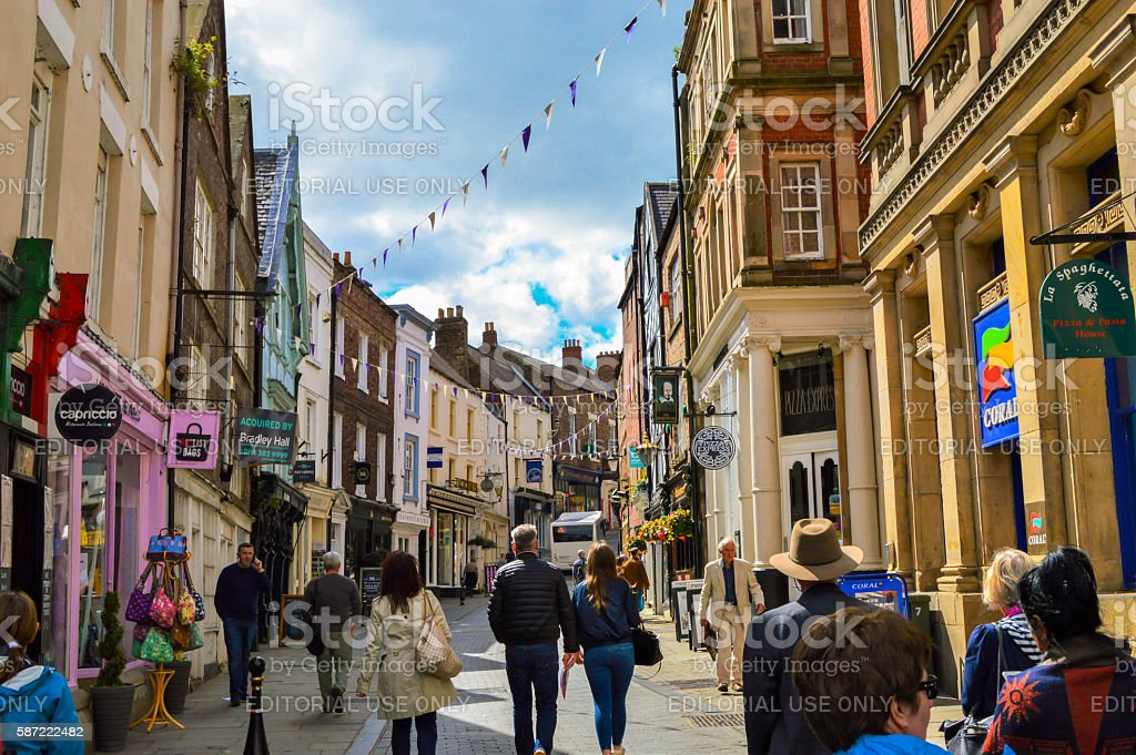 Colorful Street, Buildings, Sky and Flags, Durham, England stock photo