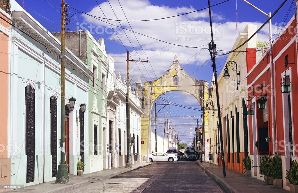 Colorful street in Merida, Yucatan, Mexico stock photo