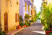 Colorful street in town in Provence, France