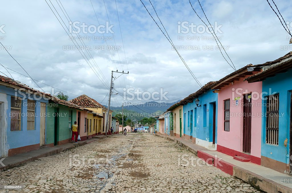 Colorful street in Trinidad. stock photo