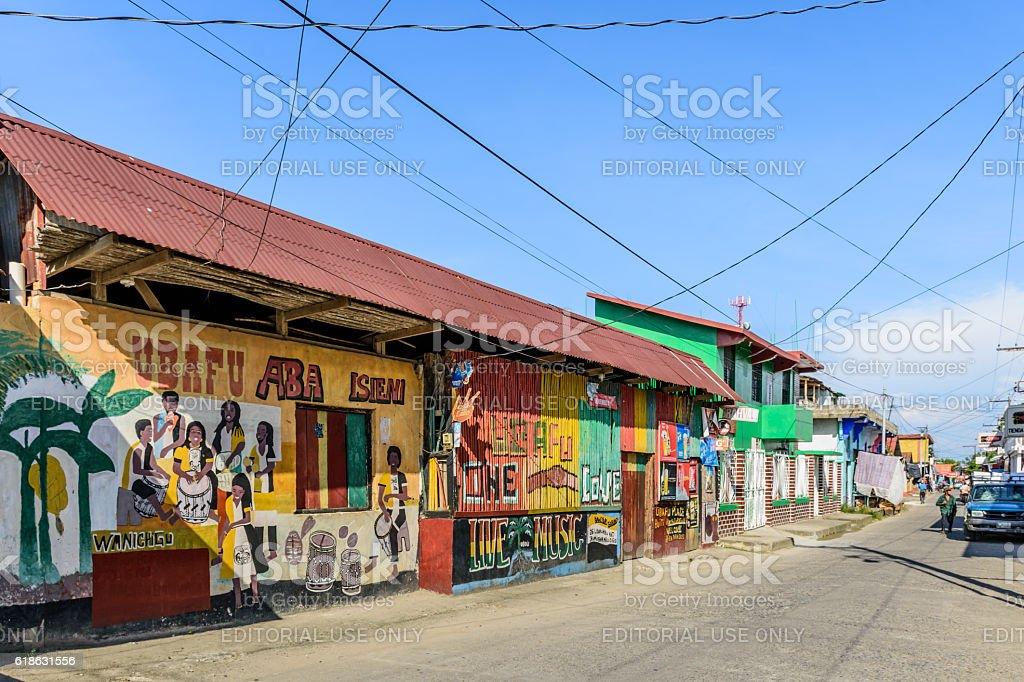 Colorful street scene, Livingston, Guatemala stock photo