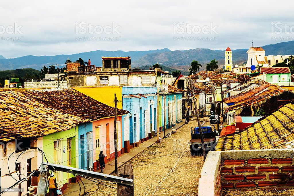 Colorful streets and lane of the town of Trinidad in Cuba stock photo