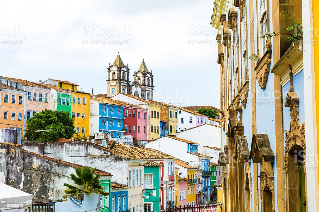Colorful streets in the historic center, Salvador, Brazil stock photo
