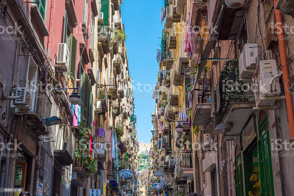 Colorful streets of Naples, Italy stock photo
