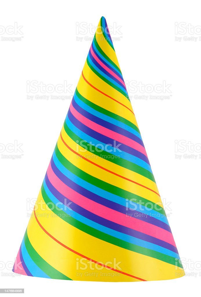 Colorful striped birthday hat on a white background stock photo