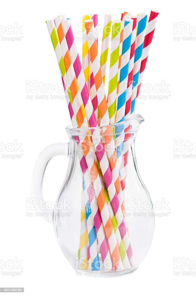 Colorful Striped Paper Straws in Jar stock photo