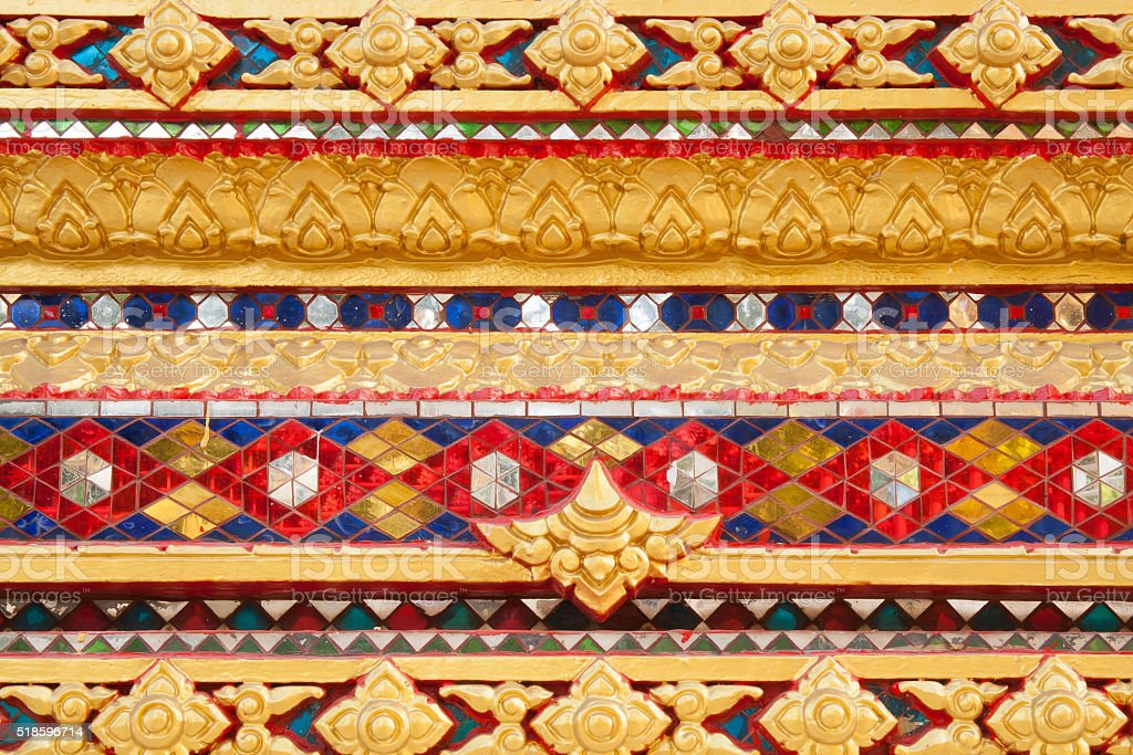 Colorful stucco of temple wall royalty-free stock photo