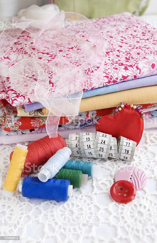 Colorful stuff for sewing at home royalty-free stock photo