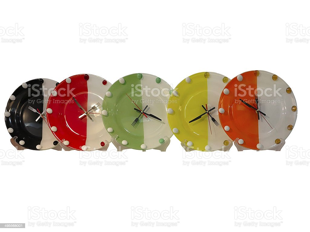 Conceito de comida de estilo colorido isolado sobre Branco relógios de parede foto de stock royalty-free