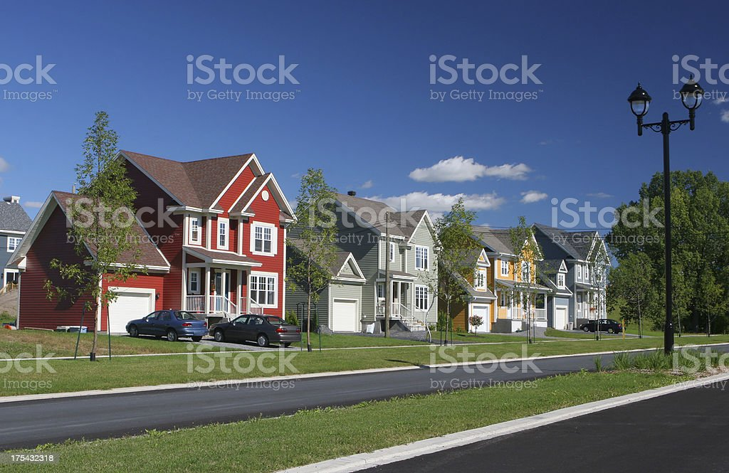 Colorful Suburban Homes stock photo