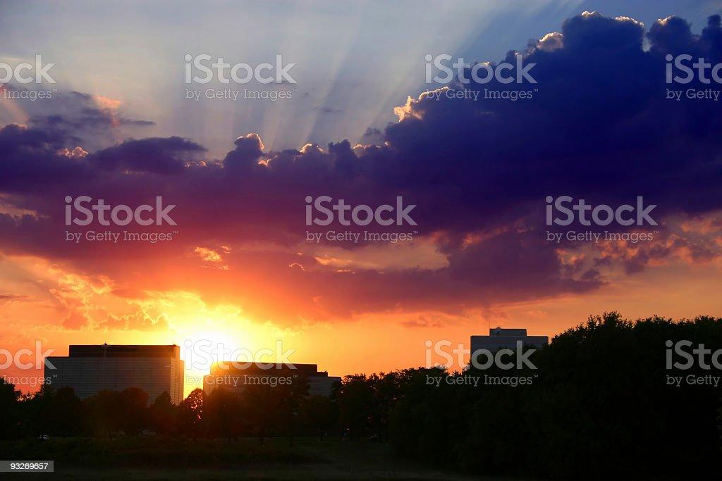 Colorful Suburban Sunset royalty-free stock photo