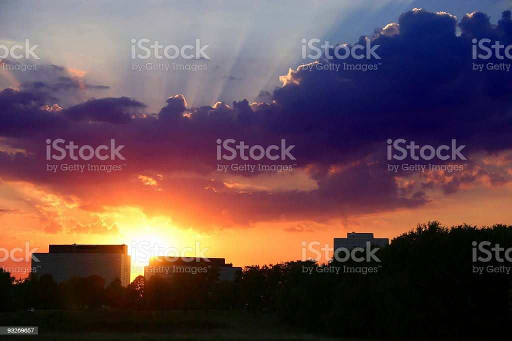 Colorful Suburban Sunset stock photo