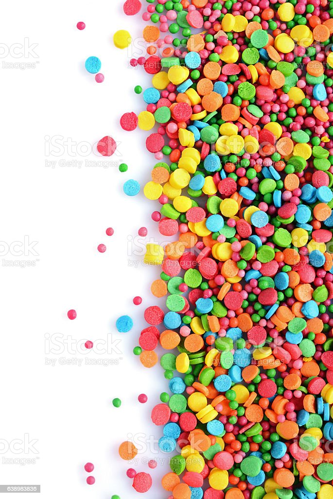 Colorful sugar sprinkle dots, decoration for cake and bakery stock photo