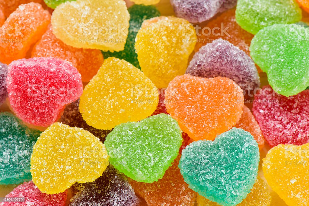 Colorful sugary candy heart shape stock photo