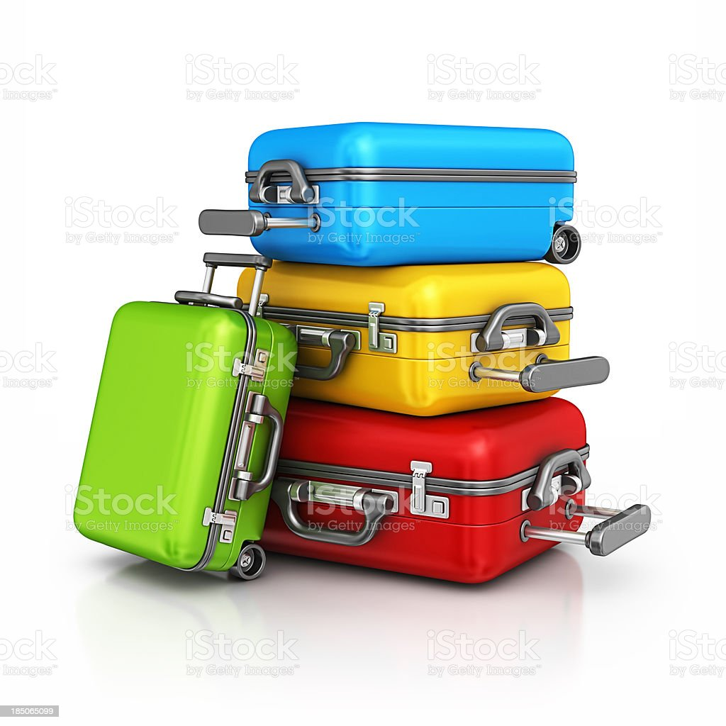 colorful suitcases stock photo