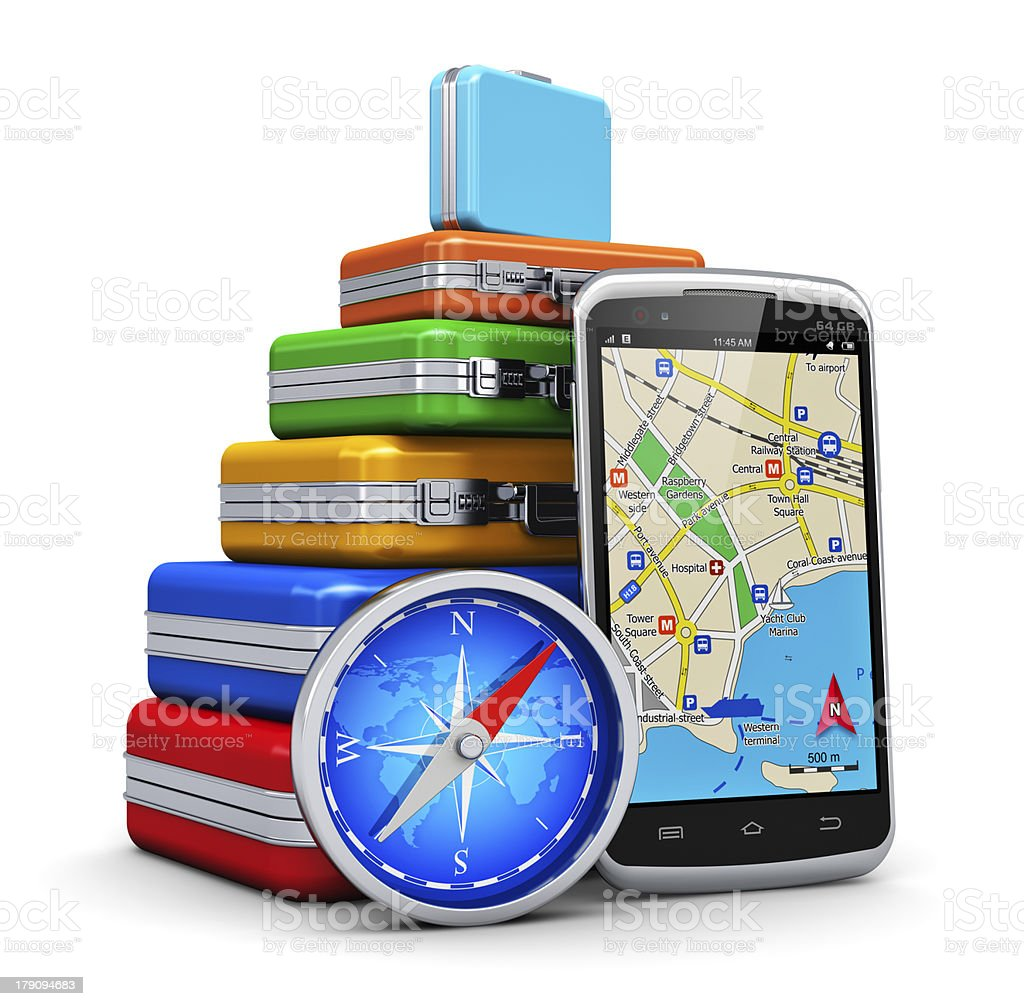 Colorful suitcases with GPS and compass royalty-free stock photo