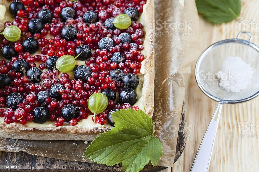 colorful summer berry pie, top view stock photo