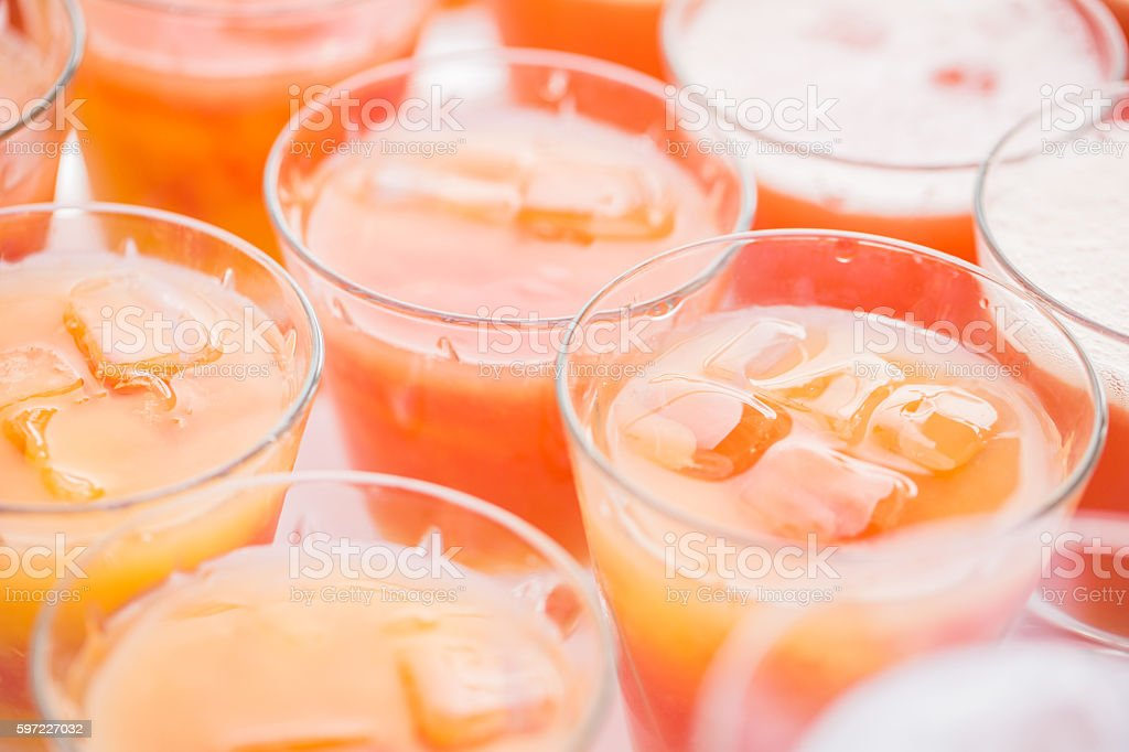 Colorful summer cocktails close up. an open air party. orange stock photo