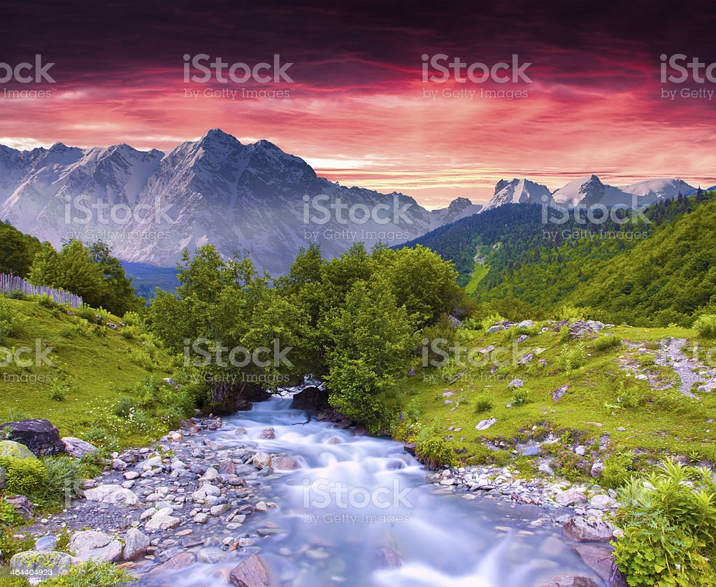 Colorful summer landscape near the river stock photo