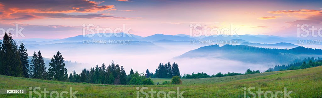 Colorful summer morning in the foggy Carpathian mountains stock photo