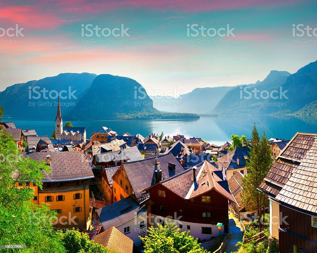 Colorful summer morning in the Hallstatt village in the Austrian Alps stock photo