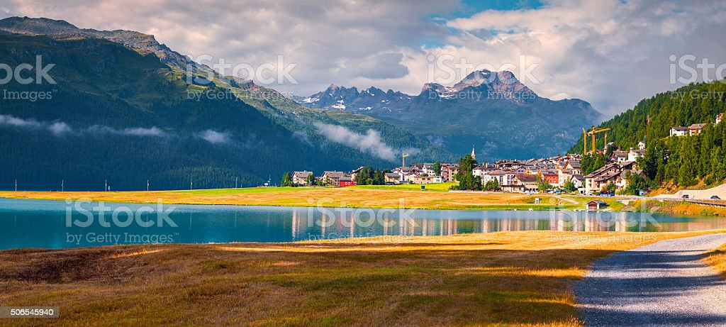 Colorful summer panorama of the Silvaplana village stock photo