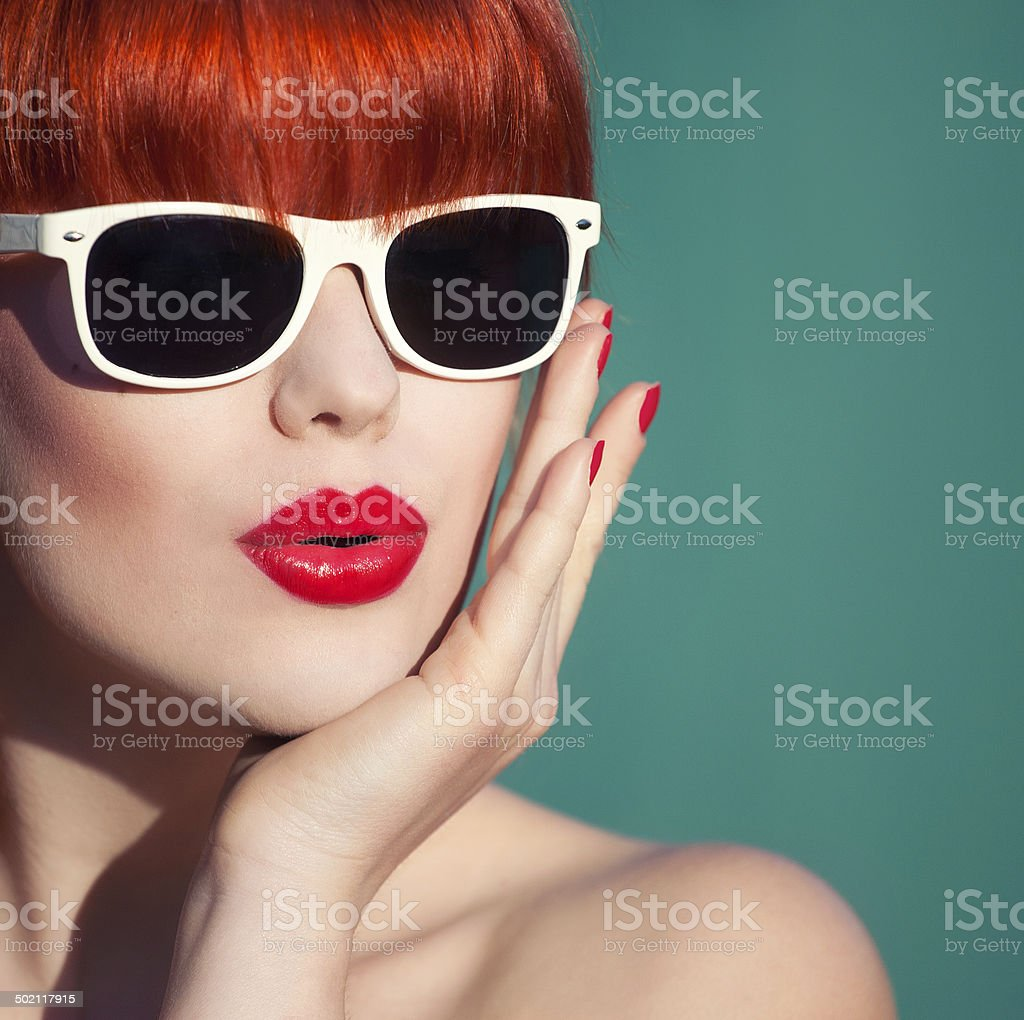 Colorful summer portrait of an attractive young woman stock photo