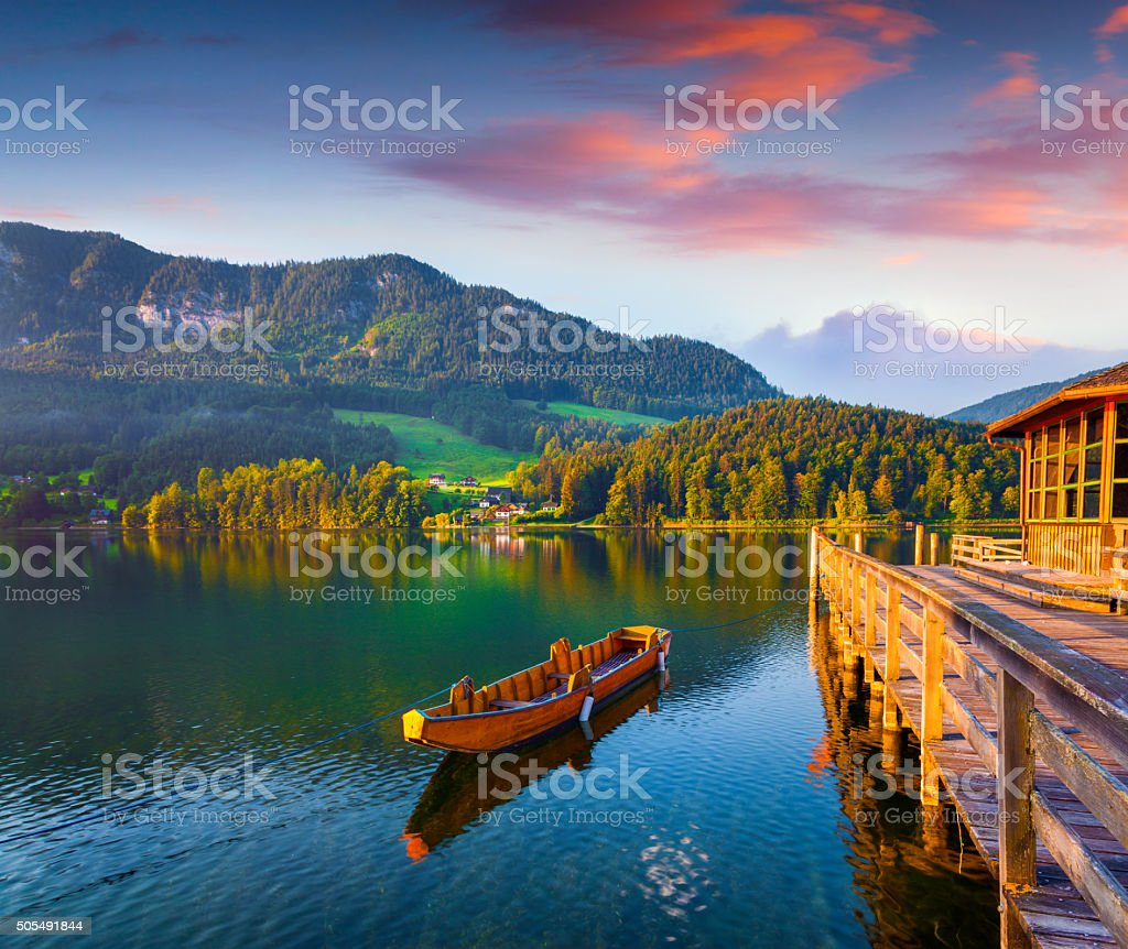 Colorful summer scene on the Grundlsee lake stock photo