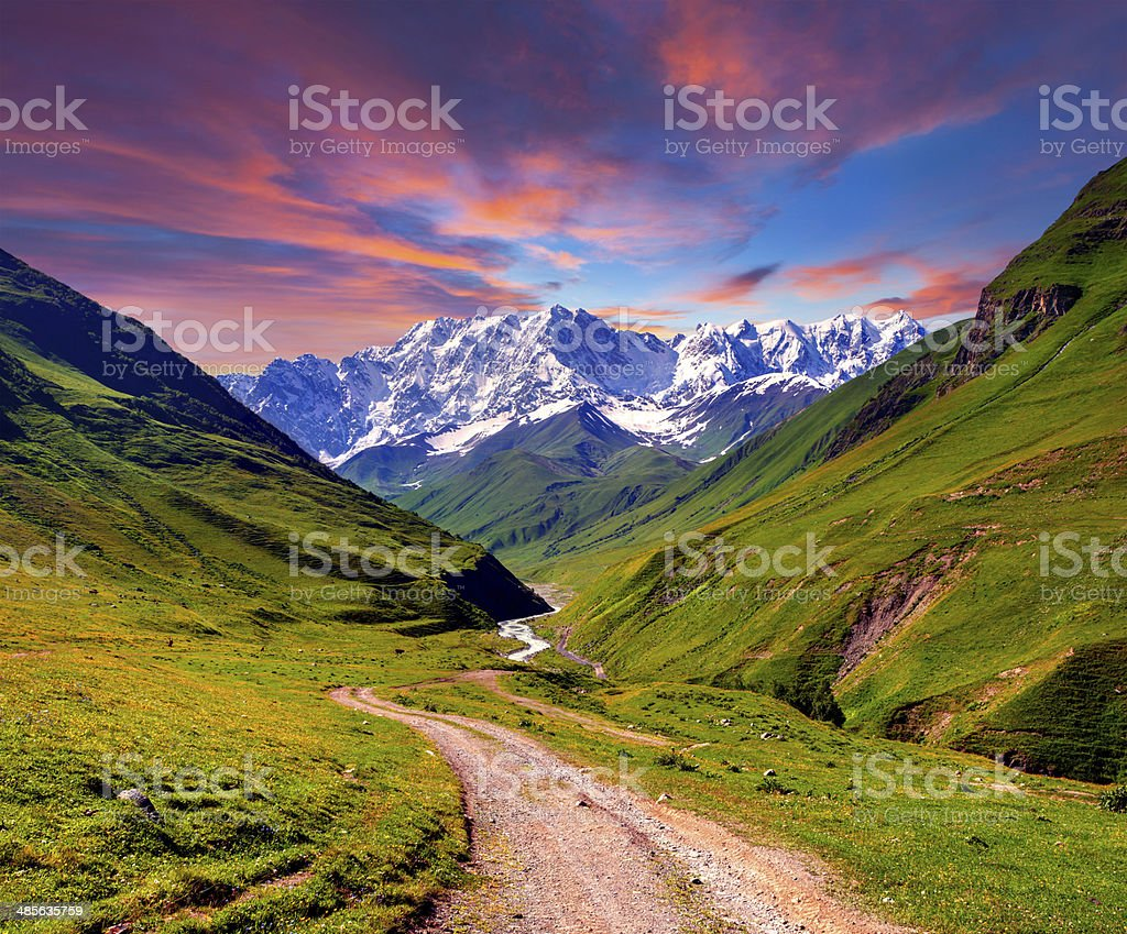 Colorful summer sunrise in the high mountains stock photo
