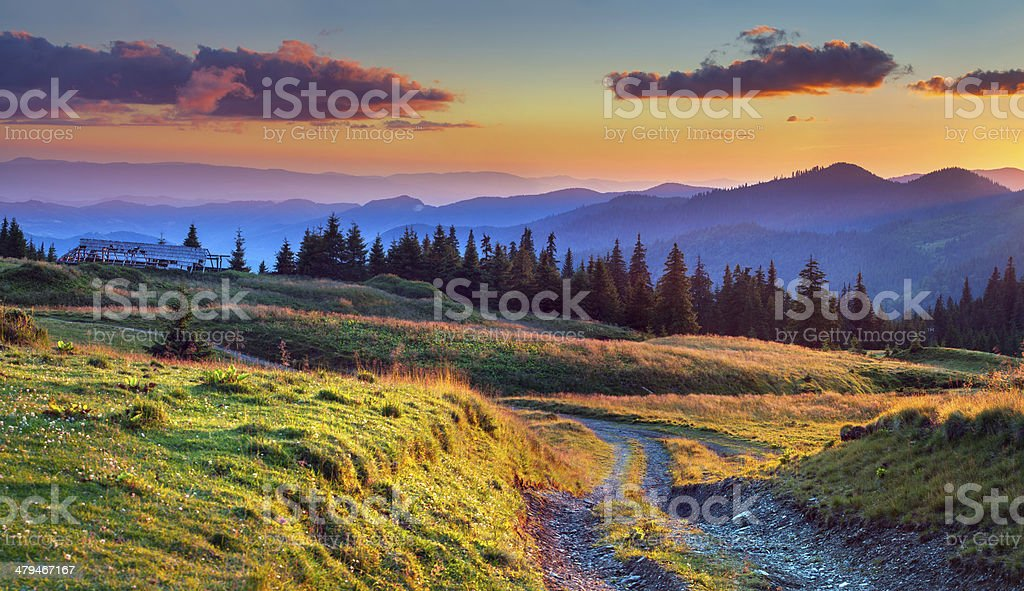 Colorful summer sunrise in the mountains royalty-free stock photo