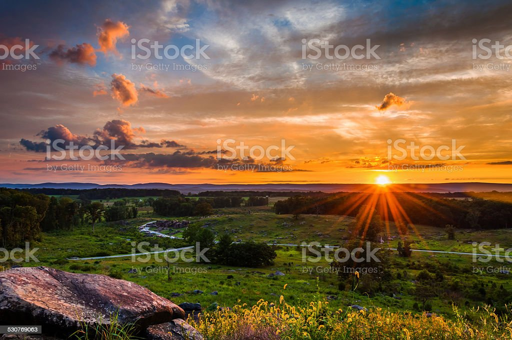 Colorful summer sunset from Little Roundtop in Gettysburg, Penns stock photo