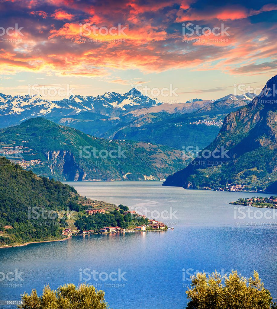 Colorful summer sunset on the Lake Iseo stock photo