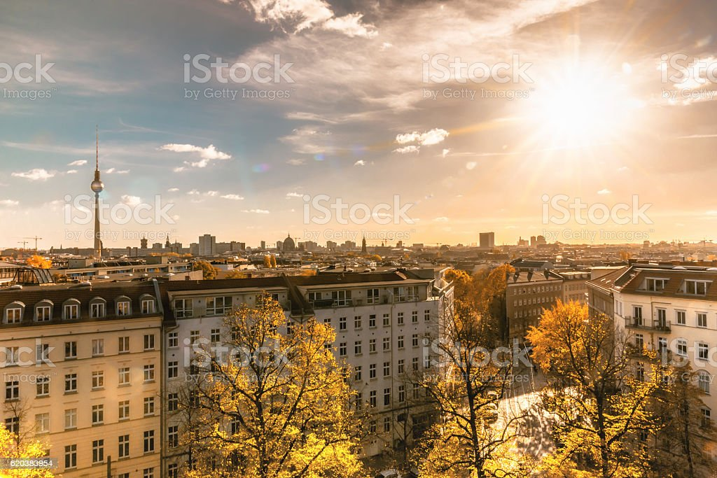 colorful sunny Berlin cityscape seen from tower of the zionskirche stock photo