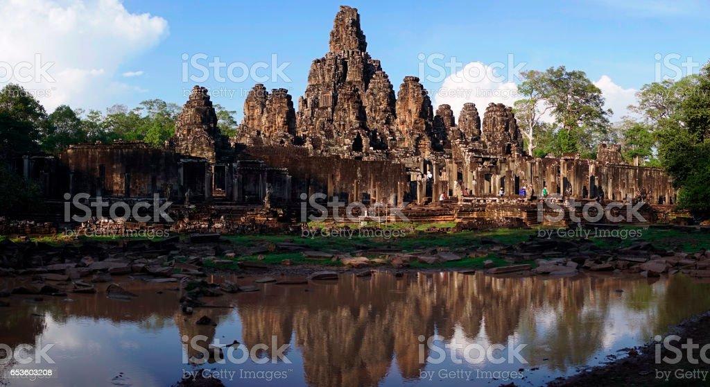 Colorful sunrise at Angkor Wat, Siem Reap, Cambodia, Asia. stock photo