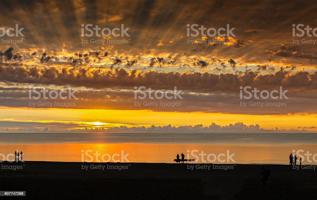 Colorful sunrise at Baltic Beach, Jurmala, Latvia stock photo