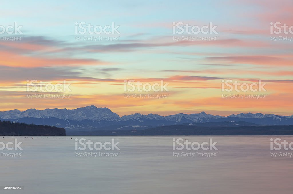 Colorful Sunrise at Lake Ammersee royalty-free stock photo